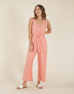Bonfire Jumpsuit Coral Chambray