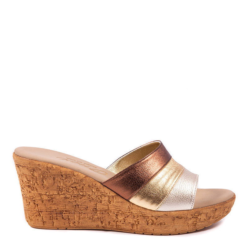Onex Shoes Balero, Bronze Gold Cork Wedge