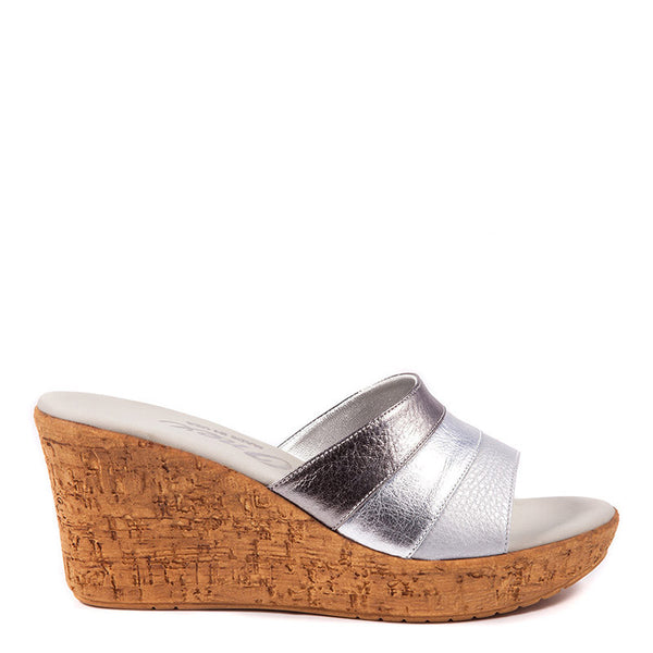Onex Shoes Balero, Silver Cork Wedges