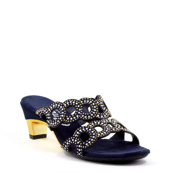 blue suede low heel from Onex Shoes