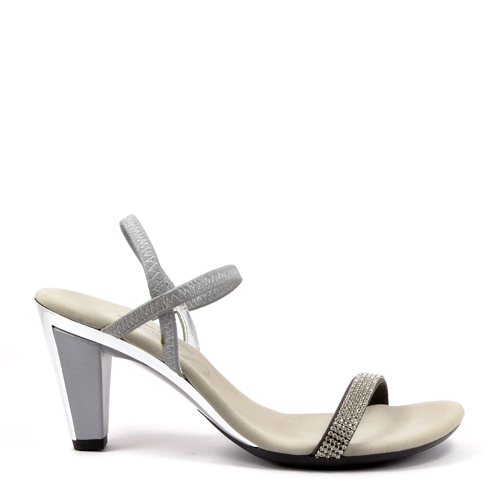 b30decc1a Silver Low Heel Strappy Sandals By Onex Shoes   Iced Matte Silver ...