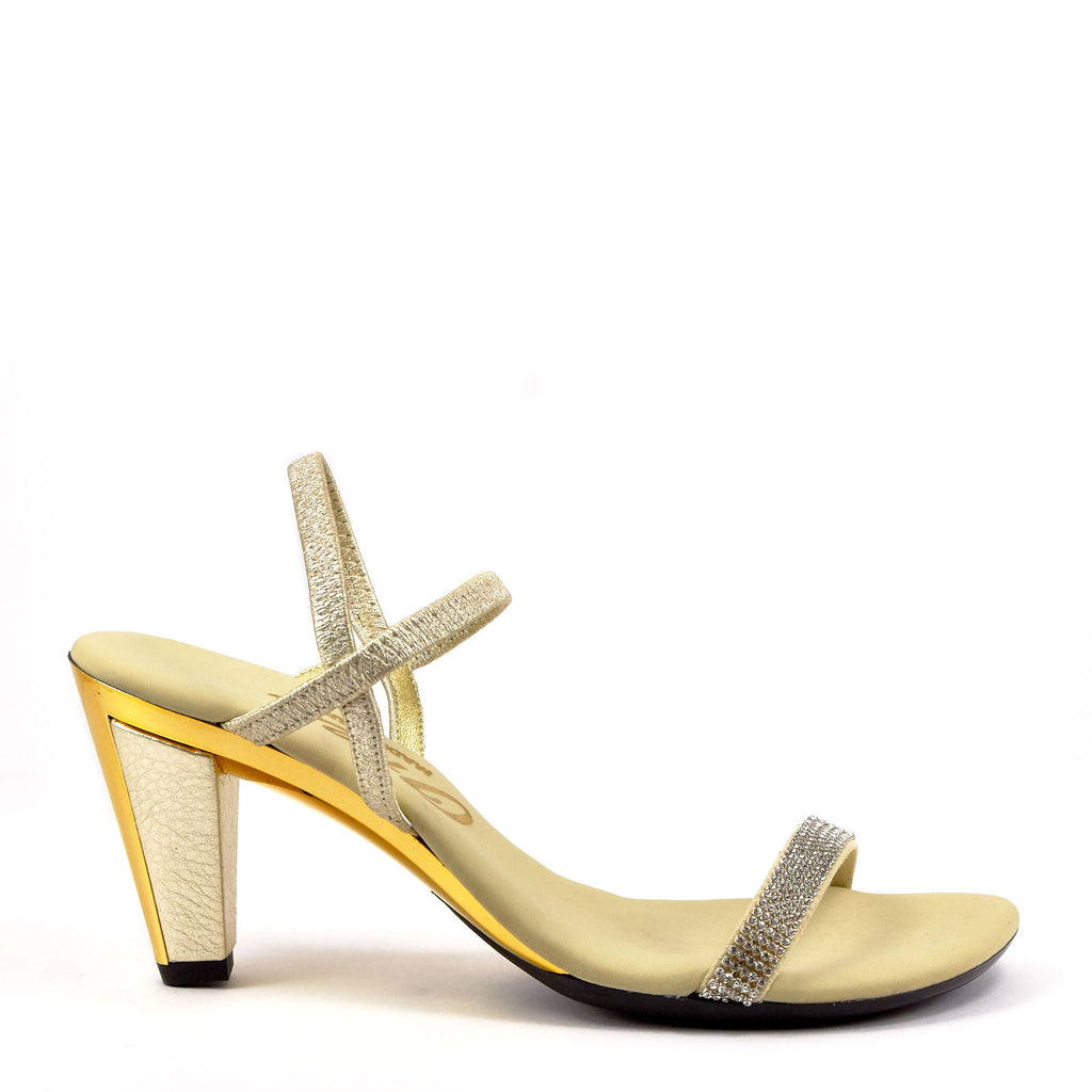 3fa14d1105af Gold Strappy Evening Heel By Onex Shoes   Iced Gold Leather – Erik s ...
