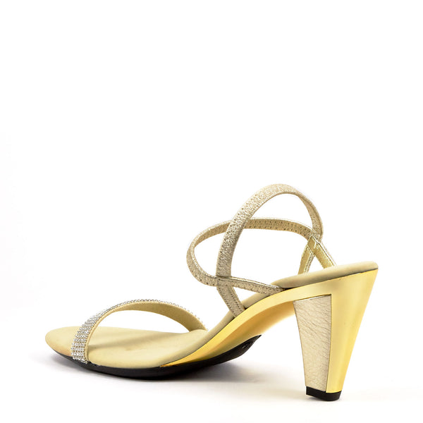 b3a9034f7b94 Gold Strappy Evening Heel By Onex Shoes   Iced Gold Leather – Erik s Shoes