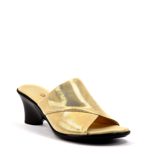 Gold Low Heel Dress Wedge By Onex Shoes