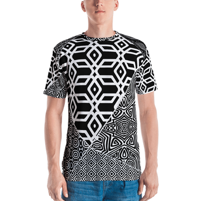 All-Over Print Men's Crew Neck T-Shirt- Patchwork