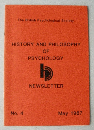 History and Philosophy of Psychology Newsletter No. 4 May 1987