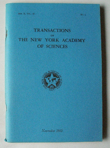 Transactions of The New York Academy of Sciences November 1962