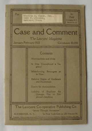 Case & Comment-The Lawyer's Magazine - January-February 1922 - Vol. 28 No. 1