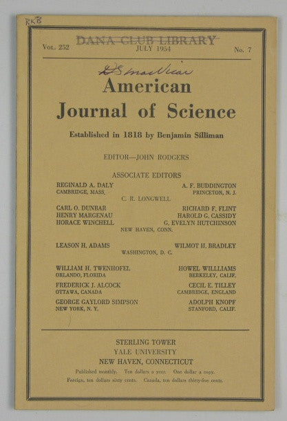 American Journal of Science, Vol. 252 - #7 - July 1954