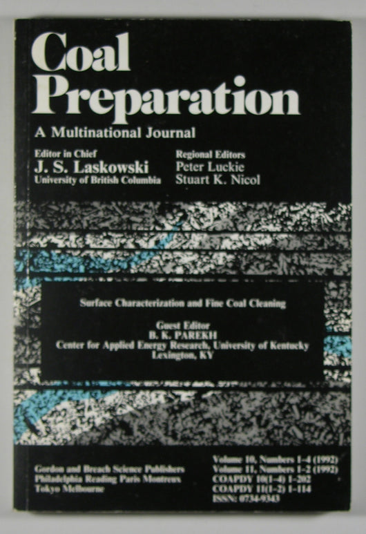 Coal Preparation A Multinational Journal - Volume 10, Numbers 1-4, Volume 11, Numbers 1-2