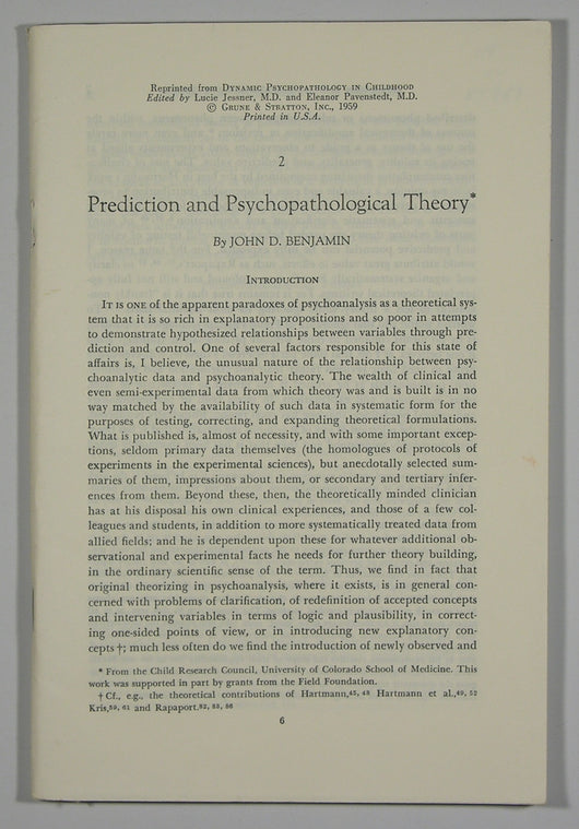 Prediction and Psychopathological Theory (reprint from 'Dynamic Psychopathology in Childhood')