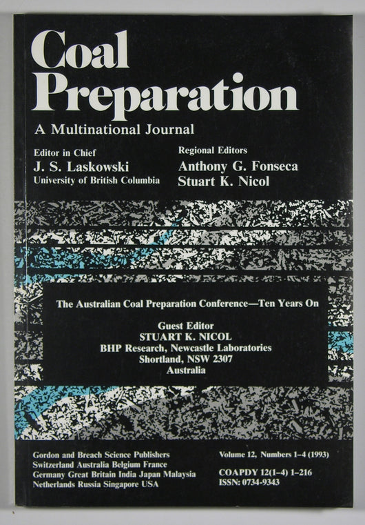 Coal Preparation-A Multinational Journal-Vol 12 #1-4