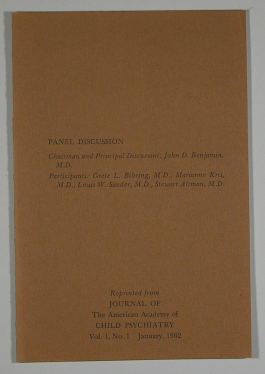 Panel Discussion-Chairman & Principal Discussant-John D. Benjamin, M.D. Reprint. from Journal of The Am. Acad. of Child Psychiatry