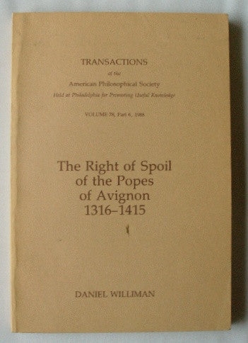 The Right of Spoil of the Popes of Avignon 1316-1415