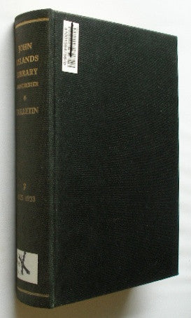 Bulletin of the John Rylands Library - Manchester - Volume 7. July, 1922-July, 1923