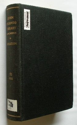 Bulletin of the John Rylands Library - Manchester - Volume 10 . 1926