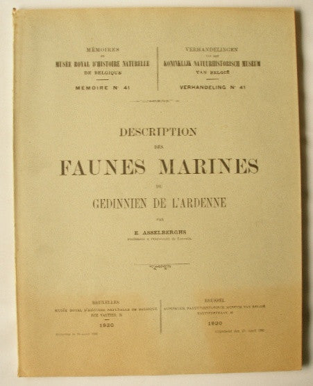 Description des Faunes Marines du Gedinnien de L'Ardenne
