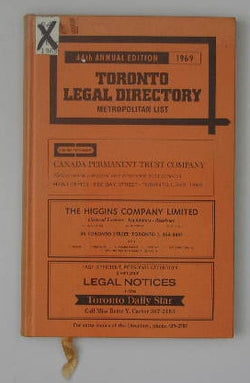 1969 Toronto Legal Directory (Metropolitan List) and Tariff Guide - Forty-Fourth Annual Edition