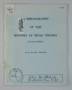 A Bibliography of the History of Music Theory