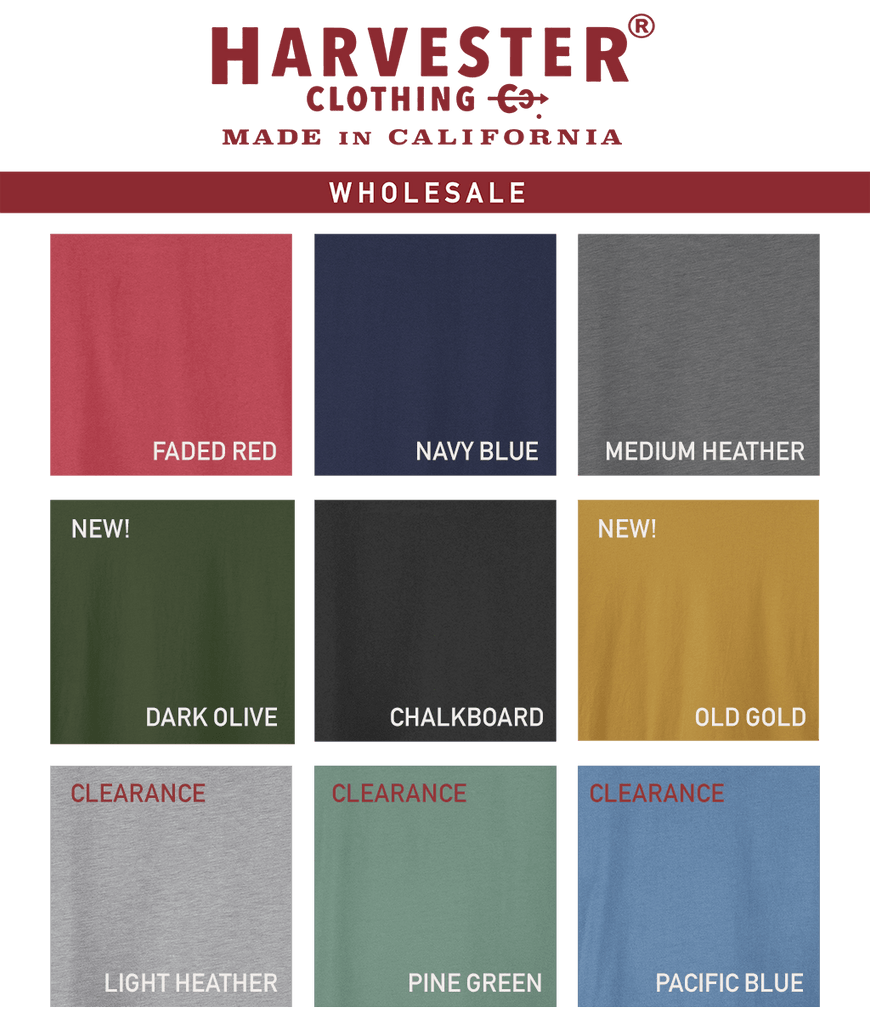 Harvester Clothing Co. Made in California USA clothing t-shirts wholesale color card 20201