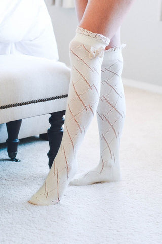 Thigh High Boot Socks With Lace Bow Accent - Ivory