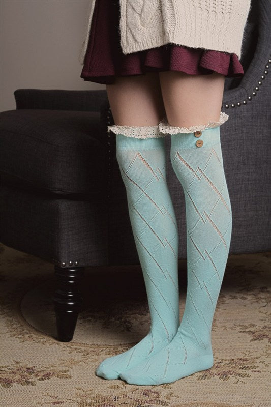 Thigh High Boot Socks With Button Accent - Mint