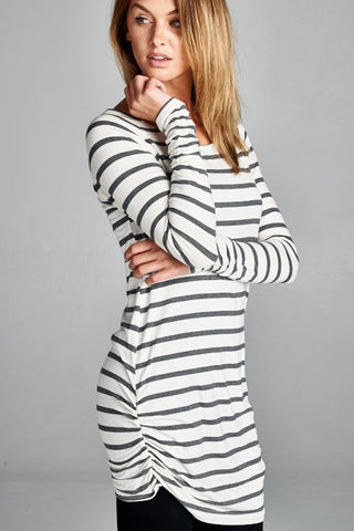 Tunic - Charcoal and White