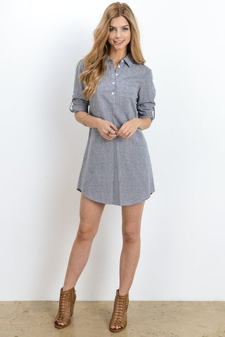 Shirt Dress - Blue Striped