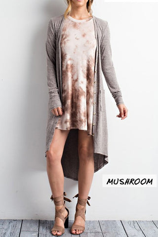 Mushroom Knit Cardigan With Pockets