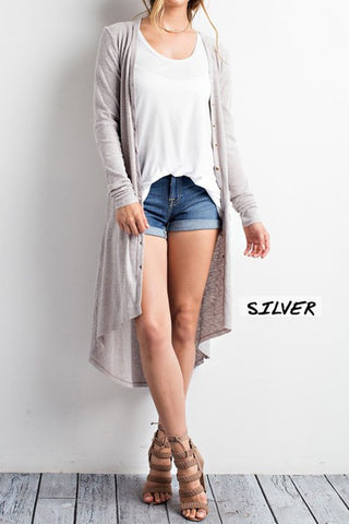 Silver Knit Cardigan With Pockets