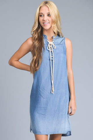 Sleeveless Denim Dress With Pockets