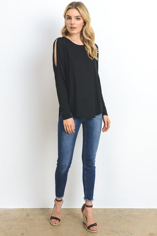 Long Sleeve Cold Shoulder - Black