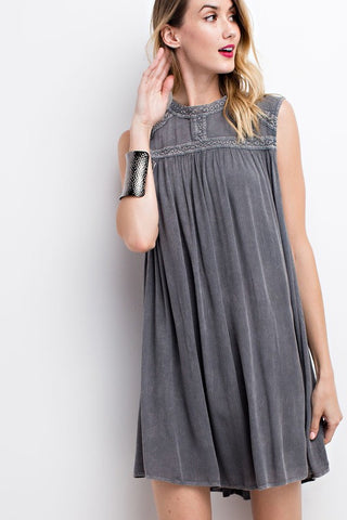 Mock Neck Tunic - Ash Grey