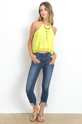 Cropped Tank Top - Yellow