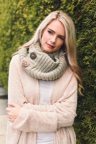 Knit Button Accent Infinity Scarf - Greige