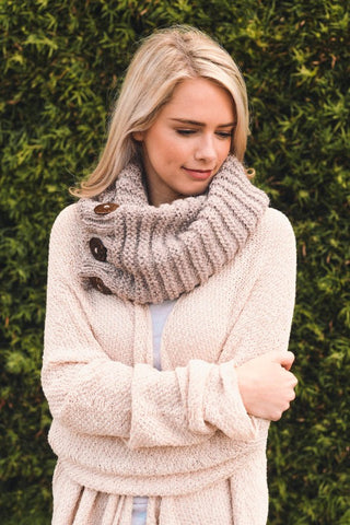 Knit Button Accent Infinity Scarf - Blush