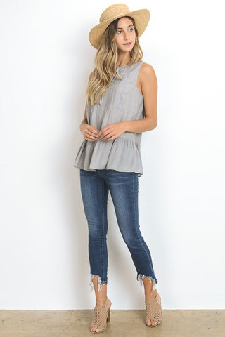 Sleeveless Tunic- Grey