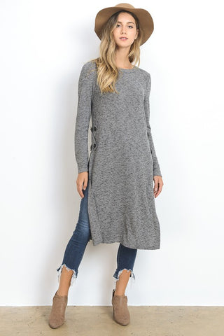 Extra Long Top With Side Slits - Charcoal