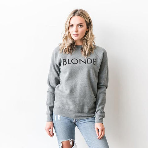 """BLONDE"" Crew in Heather Grey"