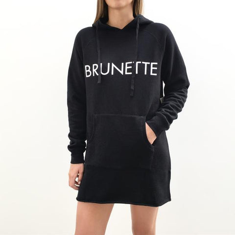 "The Hoodie Dress - ""BRUNETTE"" in Black"