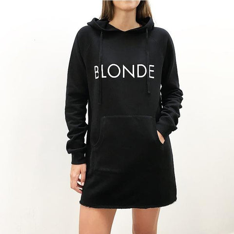 "The Hoodie Dress - ""BLONDE"" in Black"