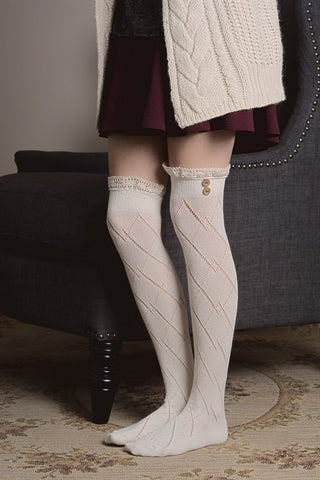 Thigh High Boot Socks With Button Accent - Ivory