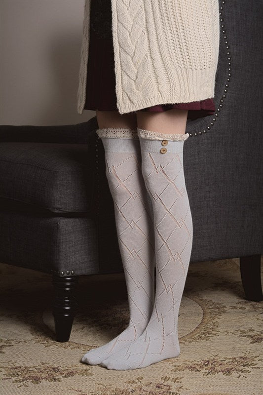 Thigh High Boot Sock With Button Accent - Light Grey