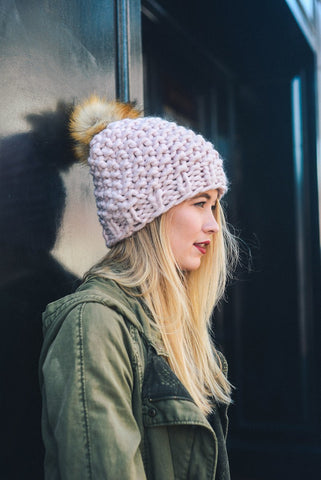 Knitted Chunky Pom Beanie - Pink