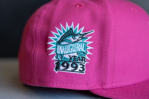 New Era Florida Marlin 1993 Inaugural Season Floral UV Fitted Cap (Fuchsia)
