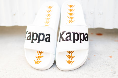 Kappa Text Logo Slides (White/Gold)