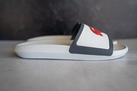 Lacoste Band Slides (White/Navy)