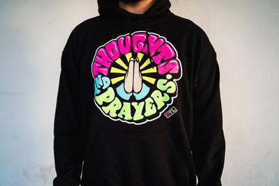 THOUGHTS AND PRAYERS Hoodie (Black/Multi)