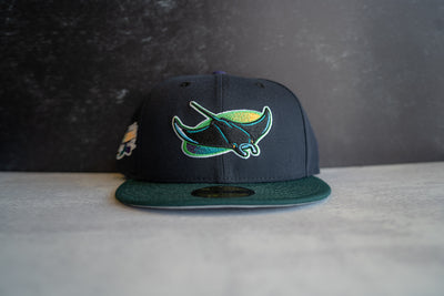 Tampa Bay Devil Rays Inaugural Patch Fitted Cap (Navy/Multi)