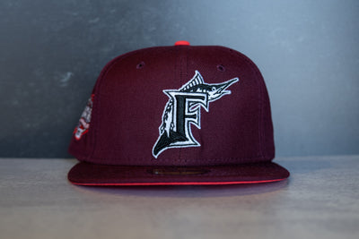New Era Florida Marlins 2003 World Series Fitted Hat (Burgundy/Infrared)